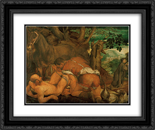 The Good Samaritan 1550 24x20 Black or Gold Ornate Framed and Double Matted Art Print by Jacopo Bassano
