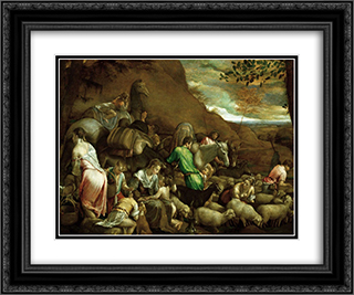 The Journey of Jacob 24x20 Black or Gold Ornate Framed and Double Matted Art Print by Jacopo Bassano