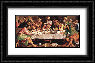 The Last Supper 24x16 Black or Gold Ornate Framed and Double Matted Art Print by Jacopo Bassano