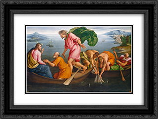 The Miraculous Draught of Fishes 24x18 Black or Gold Ornate Framed and Double Matted Art Print by Jacopo Bassano