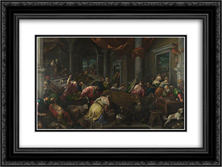The Purification of the Temple 24x18 Black or Gold Ornate Framed and Double Matted Art Print by Jacopo Bassano