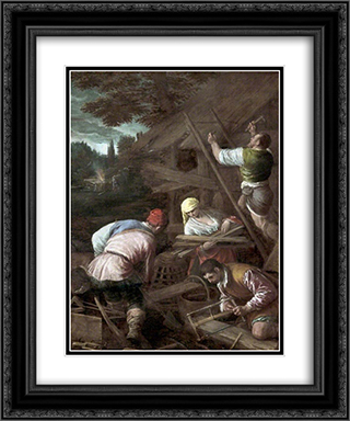 The Sacrifice of Noah 20x24 Black or Gold Ornate Framed and Double Matted Art Print by Jacopo Bassano