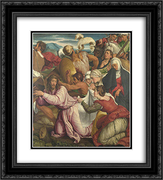 The Way to Calvary 20x22 Black or Gold Ornate Framed and Double Matted Art Print by Jacopo Bassano