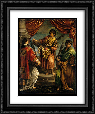 Three Martyr Saints 20x24 Black or Gold Ornate Framed and Double Matted Art Print by Jacopo Bassano