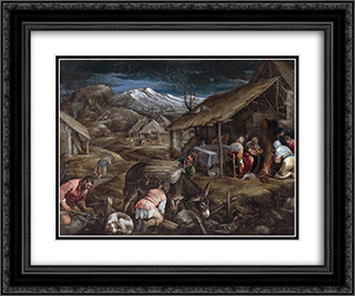 Winter 24x20 Black or Gold Ornate Framed and Double Matted Art Print by Jacopo Bassano