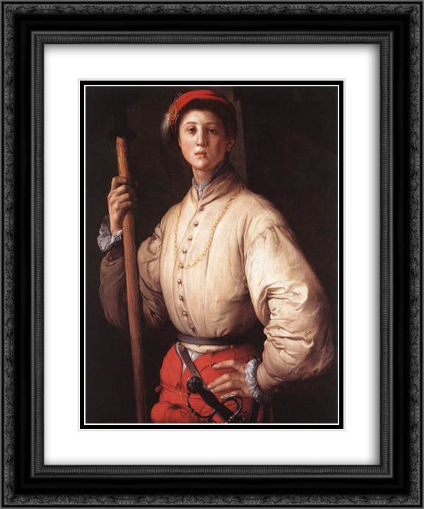 Halberdier 20x24 Black or Gold Ornate Framed and Double Matted Art Print by Jacopo Pontormo