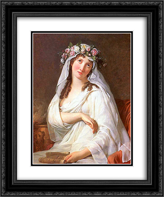 A Vestal Virgin Crowned With Flowers 20x24 Black or Gold Ornate Framed and Double Matted Art Print by Jacques Louis David