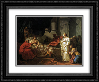 Antiochus and Stratonice 24x20 Black or Gold Ornate Framed and Double Matted Art Print by Jacques Louis David