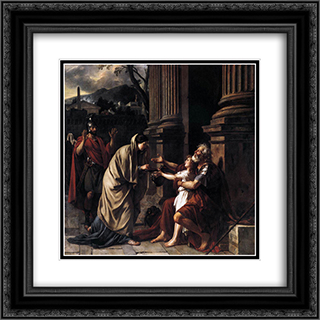 Belisarius Begging for Alms 20x20 Black or Gold Ornate Framed and Double Matted Art Print by Jacques Louis David