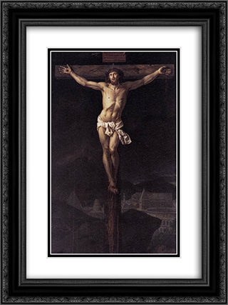Christ on the Cross 18x24 Black or Gold Ornate Framed and Double Matted Art Print by Jacques Louis David