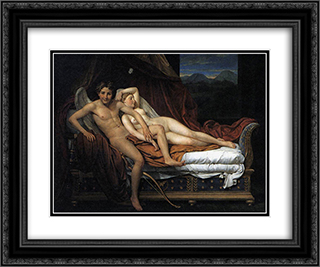 Cupid and Psyche 24x20 Black or Gold Ornate Framed and Double Matted Art Print by Jacques Louis David