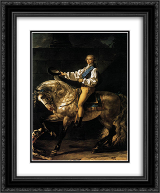 Equestrian Portrait of Stanislas Kostka Potocki 20x24 Black or Gold Ornate Framed and Double Matted Art Print by Jacques Louis David