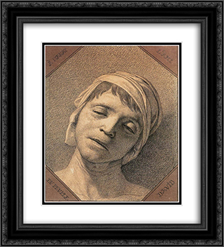 Head of Marat 20x22 Black or Gold Ornate Framed and Double Matted Art Print by Jacques Louis David