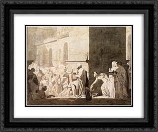 Homer Reciting his Verses to the Greeks 24x20 Black or Gold Ornate Framed and Double Matted Art Print by Jacques Louis David