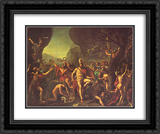 Leonidas at Thermopylae 24x20 Black or Gold Ornate Framed and Double Matted Art Print by Jacques Louis David