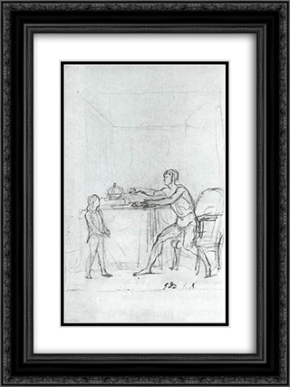 Louis XVI Showing the Constitution to his Son, the Dauphin 18x24 Black or Gold Ornate Framed and Double Matted Art Print by Jacques Louis David