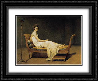 Madame Recamier 24x20 Black or Gold Ornate Framed and Double Matted Art Print by Jacques Louis David