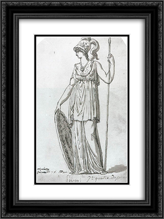 Minerva 18x24 Black or Gold Ornate Framed and Double Matted Art Print by Jacques Louis David