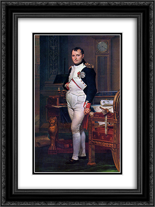 Napoleon Bonaparte in his Study at the Tuileries 18x24 Black or Gold Ornate Framed and Double Matted Art Print by Jacques Louis David