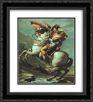 Napoleon Crossing the Alps at the St Bernard Pass, 20th May 1800 20x22 Black or Gold Ornate Framed and Double Matted Art Print by Jacques Louis David