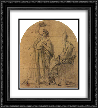 Napoleon Holding Josephine's Crown 20x22 Black or Gold Ornate Framed and Double Matted Art Print by Jacques Louis David