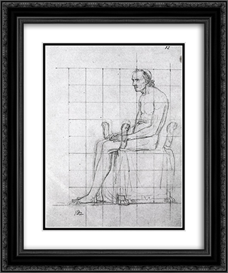 Nude study of Pope Pius VII 20x24 Black or Gold Ornate Framed and Double Matted Art Print by Jacques Louis David