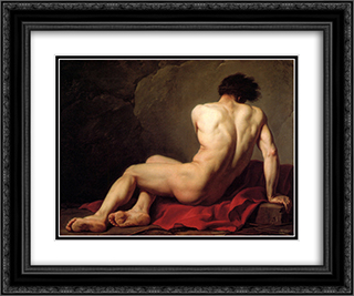 Patrocles 24x20 Black or Gold Ornate Framed and Double Matted Art Print by Jacques Louis David