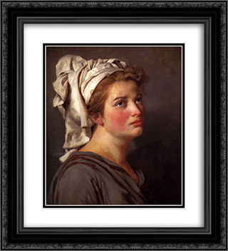 Portrait of a young Woman in a Turban 20x22 Black or Gold Ornate Framed and Double Matted Art Print by Jacques Louis David