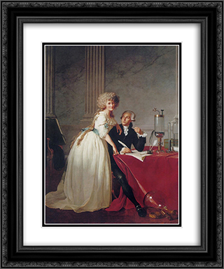 Portrait of Antoine-Laurent and Marie-Anne Lavoisier 20x24 Black or Gold Ornate Framed and Double Matted Art Print by Jacques Louis David