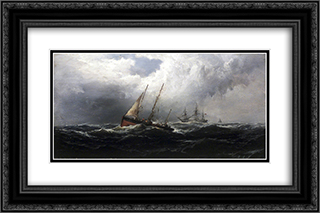 After a Gale - Wreckers 24x16 Black or Gold Ornate Framed and Double Matted Art Print by James Hamilton