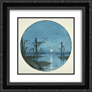 Bayou in Moonlight 20x20 Black or Gold Ornate Framed and Double Matted Art Print by James Hamilton