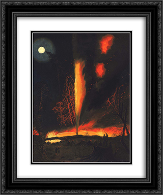 Burning Oil Well at Night, near Rouseville, Pennsylvania 20x24 Black or Gold Ornate Framed and Double Matted Art Print by James Hamilton
