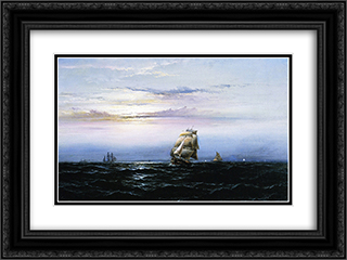 Delaware Bay 24x18 Black or Gold Ornate Framed and Double Matted Art Print by James Hamilton
