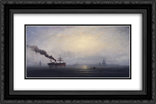 Foggy Morning on the Thames 24x16 Black or Gold Ornate Framed and Double Matted Art Print by James Hamilton