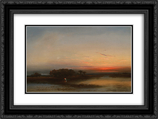 In theSalt Marshes of N. J. 24x18 Black or Gold Ornate Framed and Double Matted Art Print by James Hamilton