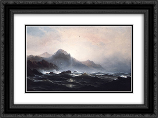 Seascape 24x18 Black or Gold Ornate Framed and Double Matted Art Print by James Hamilton