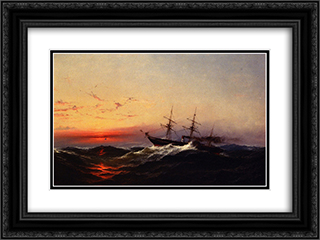 Sunset on a Rough Sea 24x18 Black or Gold Ornate Framed and Double Matted Art Print by James Hamilton