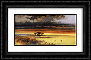 Sunset on the Jersey Flats 24x16 Black or Gold Ornate Framed and Double Matted Art Print by James Hamilton