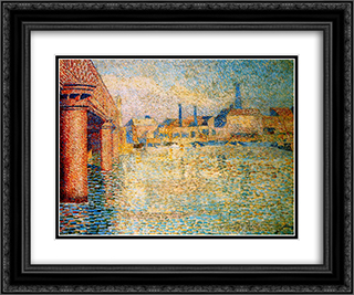 Bridge in London 24x20 Black or Gold Ornate Framed and Double Matted Art Print by Jan Toorop