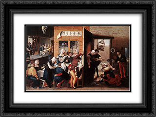 A Merry Company 24x18 Black or Gold Ornate Framed and Double Matted Art Print by Jan van Hemessen
