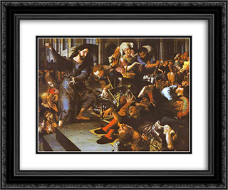 Christ Driving Merchants from the Temple 24x20 Black or Gold Ornate Framed and Double Matted Art Print by Jan van Hemessen