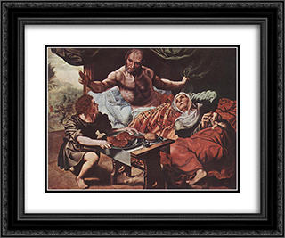 Isaac Blessing Jacob 24x20 Black or Gold Ornate Framed and Double Matted Art Print by Jan van Hemessen