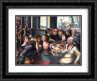 Parable of the Prodigal Son 24x20 Black or Gold Ornate Framed and Double Matted Art Print by Jan van Hemessen