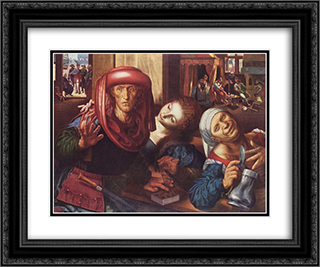 Risky society 24x20 Black or Gold Ornate Framed and Double Matted Art Print by Jan van Hemessen