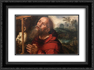 San Girolamo in Preghiera 24x18 Black or Gold Ornate Framed and Double Matted Art Print by Jan van Hemessen