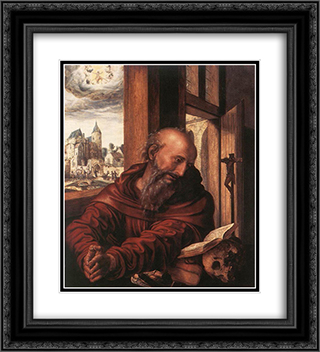 St. Jerome 20x22 Black or Gold Ornate Framed and Double Matted Art Print by Jan van Hemessen