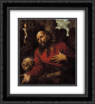 St. Jerome praying before a rocky grotto 20x22 Black or Gold Ornate Framed and Double Matted Art Print by Jan van Hemessen