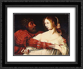 Tarquin and Lucretia 24x20 Black or Gold Ornate Framed and Double Matted Art Print by Jan van Hemessen