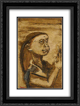 Portrait of a Woman 18x24 Black or Gold Ornate Framed and Double Matted Art Print by Jankel Adler