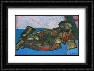 Reclining Nude 24x18 Black or Gold Ornate Framed and Double Matted Art Print by Jankel Adler